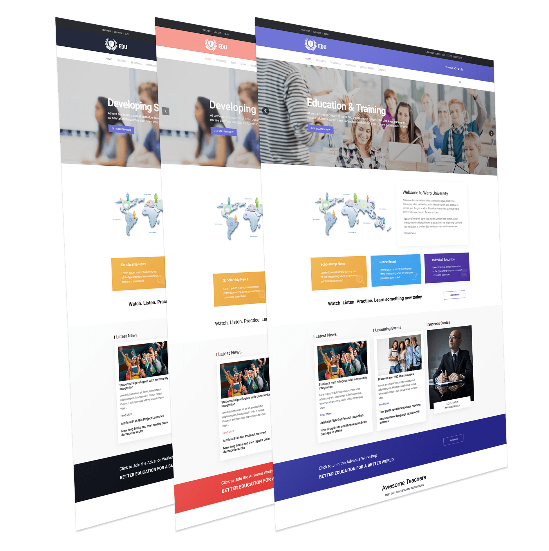 jomla templates - wt education free education joomla template