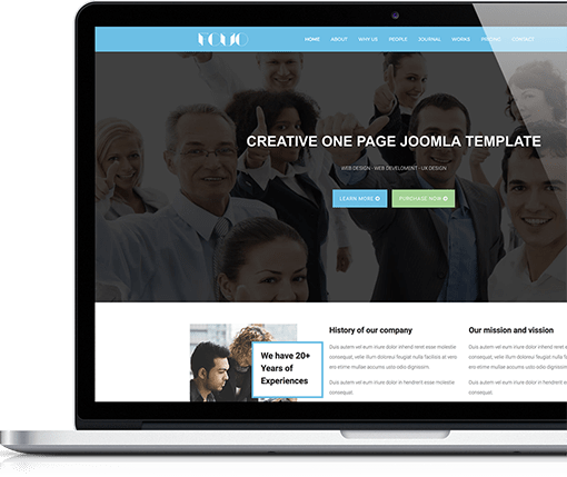 One page joomla template