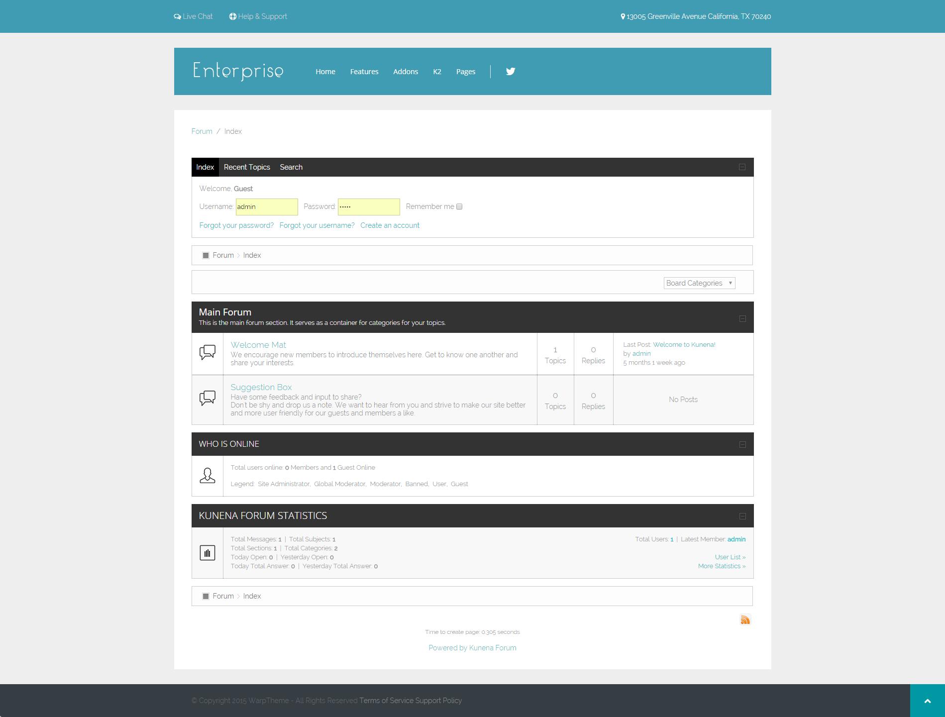 Enterprise Kunena Forum Page