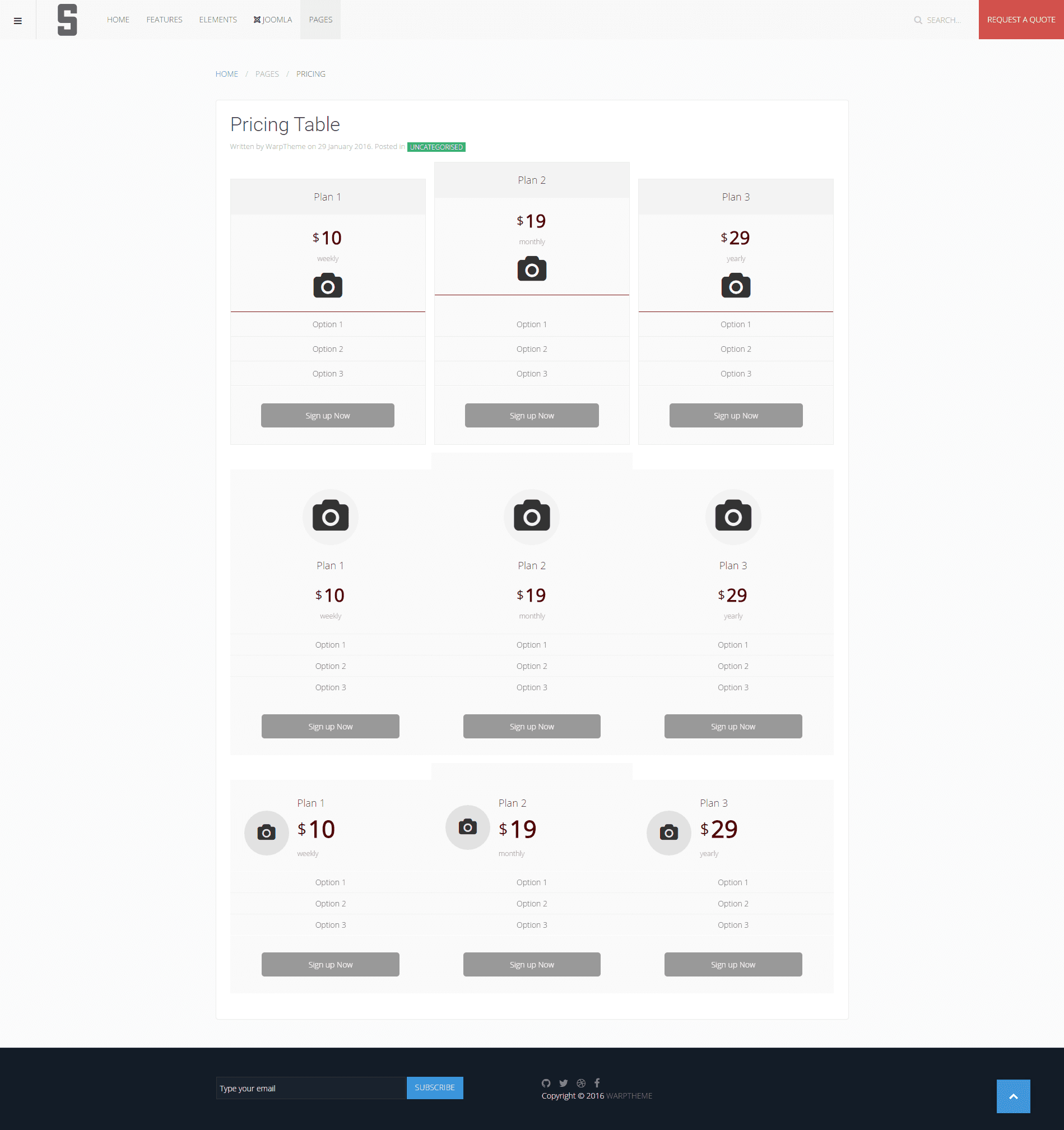 S Pricing Table