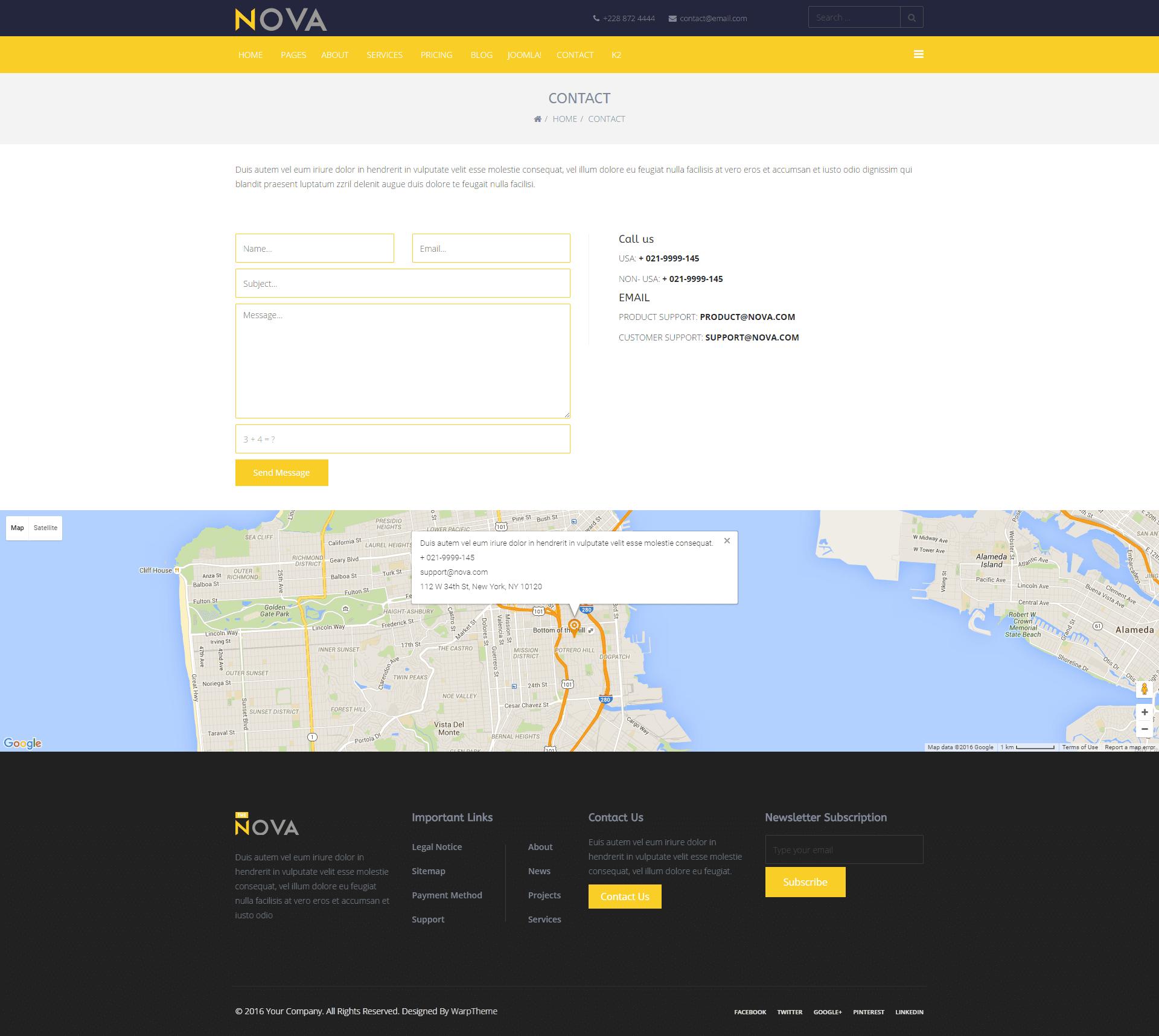 Nova Contact Page