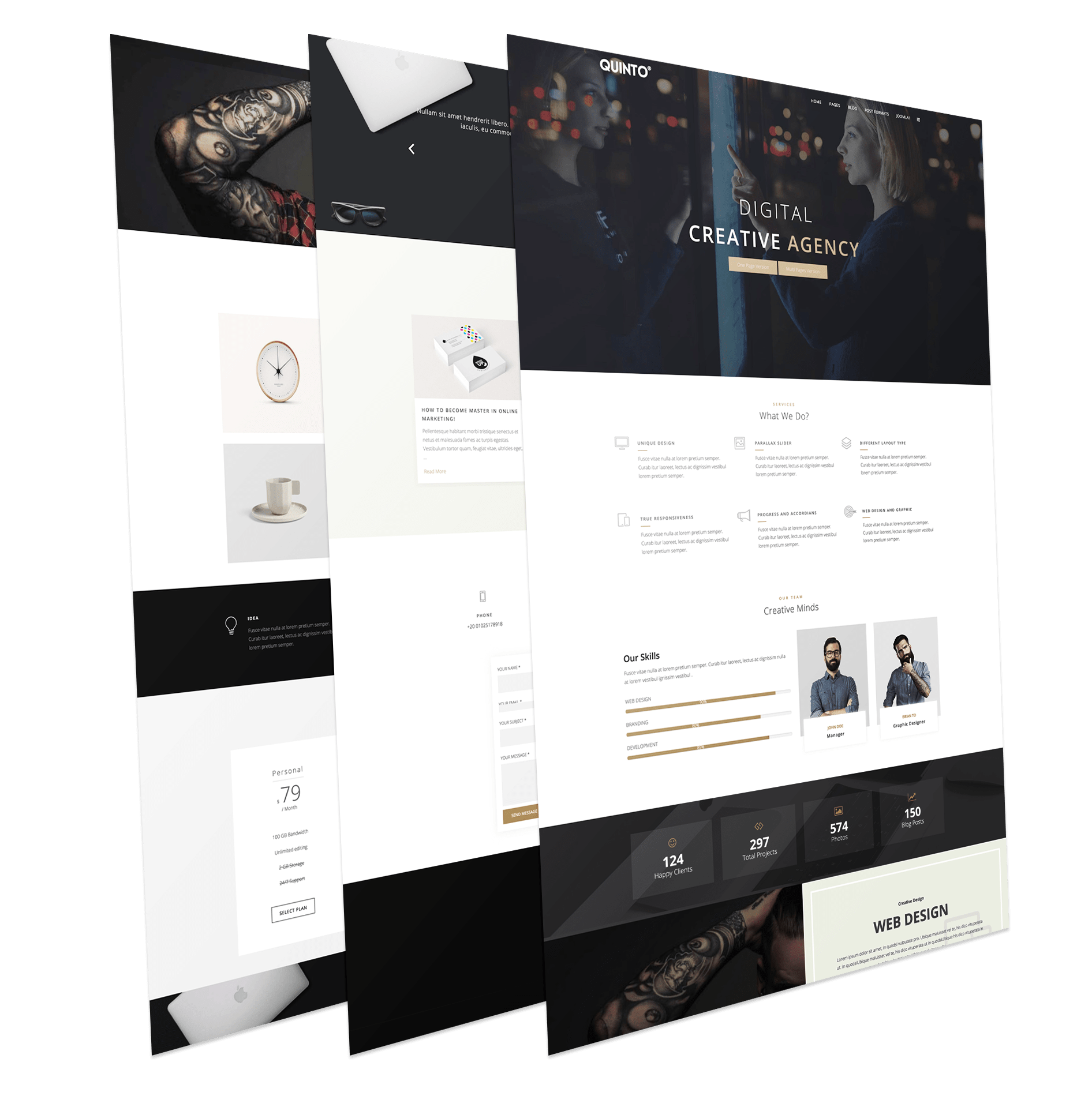 Quinto Free Creative One Page Joomla Template